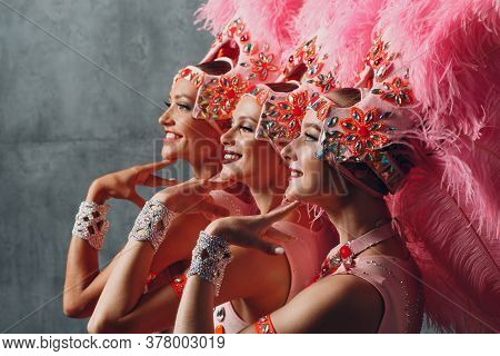 Three Women Profile Portrait In Samba Or Lambada Costume With Pink Feathers Plumage