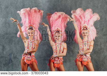 Three Women In Samba Or Lambada Costume With Pink Feathers Plumage