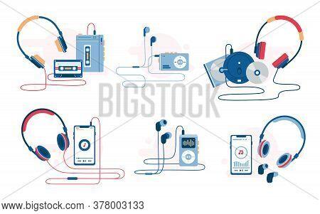Music Player Evolution Vector Illustration. Set Of Retro And Modern Music Listening Devices. Cassett