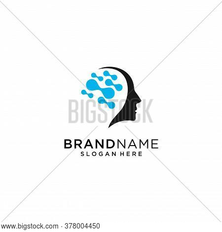 Head Tech Logo, Colorful Head Logo Concept Vector, Head Digital Technology Logo Template Designs Vec