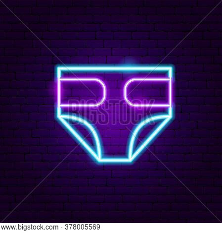 Diapers Neon Sign. Vector Illustration Of Baby Promotion.