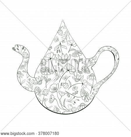 A Teapot In The Form Of A Drop With Flowers. Healthy Eco-friendly Herbal Drink. Monochrome Vector Il