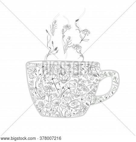 Black And White Cup With Flowers For Herbal Tea. Healthy Eco-friendly Herbal Drink. Monochrome Vecto