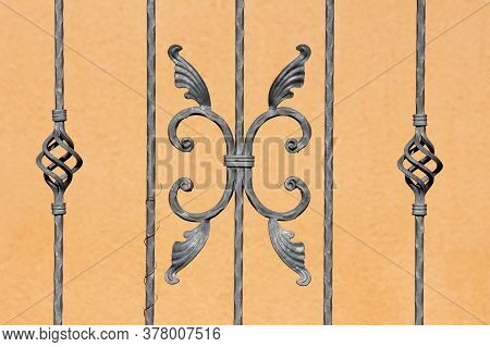 Grey Custom Made Vintage Retro Wrought Iron Fence With Various Small To Large Handmade Decorations I