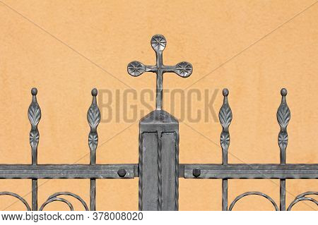 Vintage Retro Grey Wrought Iron Fence With Multiple Custom Made Decorations In Shape Of Small Flower