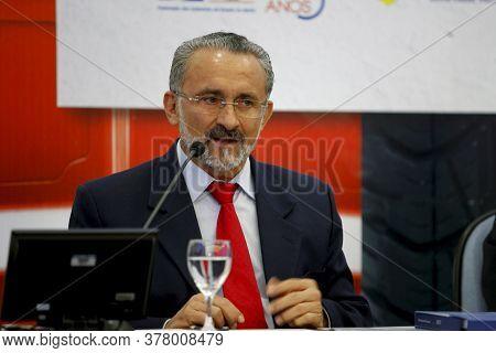 Camacari, Bahia / Brazil - July 11, 2013: Ademar Delgado, Mayor Of The City Of Camacari Is Seen Duri
