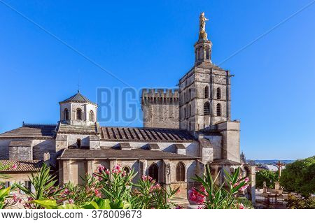 Beautiful View Of Avignon Cathedral (cathedral Of Our Lady Of Doms) Next To Papal Palace In Avignon,