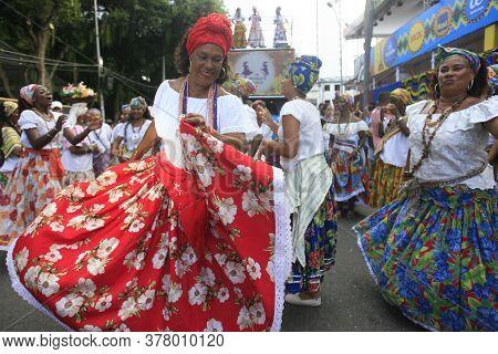 Salvador, Bahia / Brazil - February 24, 2017: Members Of The Itapua Ganhadeiras Cultural Group Are S