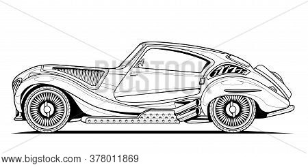 Vector Original Classic Car Illustration Coloring Book Page For Adult Drawing. Line Art On Paper, Ou
