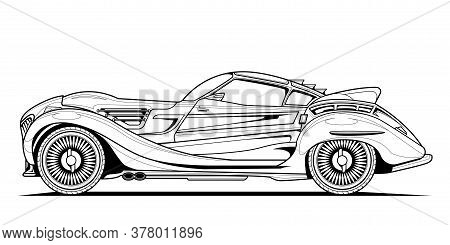 Original Vector Classic Car Illustration Coloring Book Page For Adult Drawing. Line Art On Paper, Ou