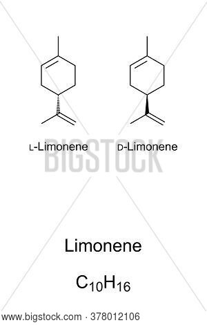 Limonene, Chemical Structure And Formula. Major Component Of Oil Of Citrus Fruit Peels. The D-isomer