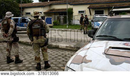 Porto Seguro, Bahia / Brazil - December 1, 2011: Military Policemen Are Seen During Action In The Po