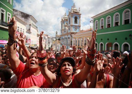 Salvador, Bahia / Brazil - December 4, 2019: Devotees Of Santa Barbara And Candombe Supporters Celeb