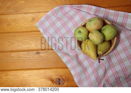 Frail Of Apples And Pears On A Towel On Wooden Table Flat Lay. Image Contains Copy Space