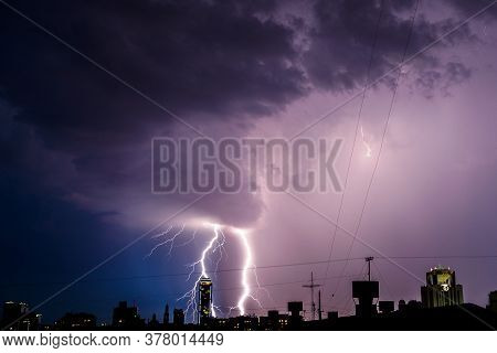 Photo Of Beautiful Powerful Lightning Over Big City, Zipper And Thunderstorm, Abstract Background, D