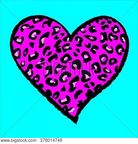 Design For A Shirt Of A Pink Leopard Print Heart Isolated On Blue