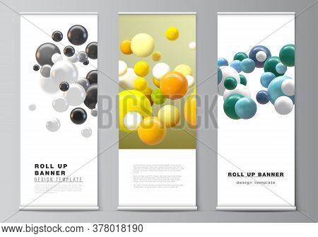 Vector Layout Of Roll Up Mockup Templates For Vertical Flyers, Flags Design Templates, Banner Stands