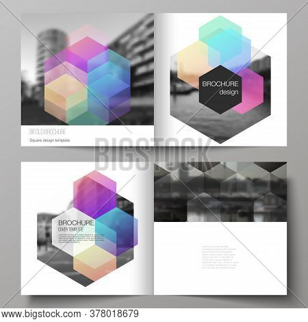 Vector Layout Of Two Covers Templates With Colorful Hexagons, Geometric Shapes, Tech Background For