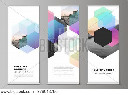 Vector Layout Of Roll Up Mockup Design Templates With Colorful Hexagons, Geometric Shapes, Tech Back