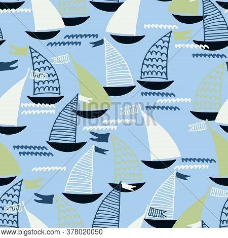 Seamless Pattern With Hand Drawn Sailing Boats And Waves On Blue Background For Surface Design And O