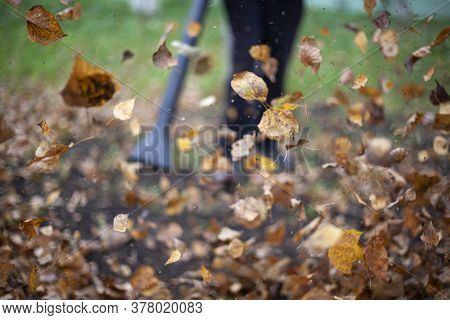 Cleaning Dry Leaves With A Wind Turbine. The Gardener Is Cleaning The Garden. Autumn Cleaning Of The