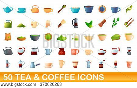 50 Tea And Coffee Icons Set. Cartoon Illustration Of 50 Tea And Coffee Icons Vector Set Isolated On