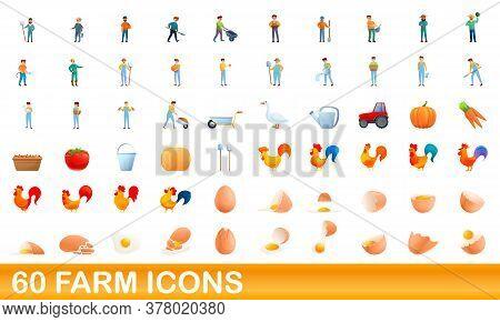 60 Farm Icons Set. Cartoon Illustration Of 60 Farm Icons Vector Set Isolated On White Background