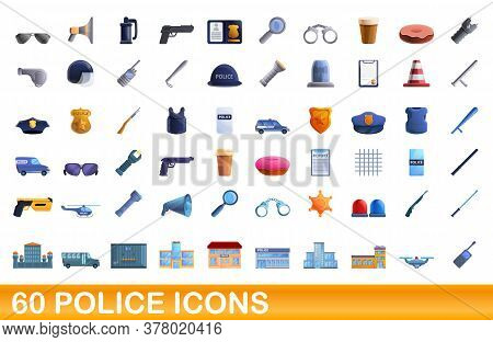 60 Police Icons Set. Cartoon Illustration Of 60 Police Icons Vector Set Isolated On White Background