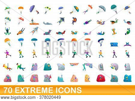 70 Extreme Icons Set. Cartoon Illustration Of 70 Extreme Icons Vector Set Isolated On White Backgrou