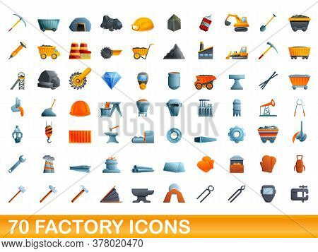 70 Factory Icons Set. Cartoon Illustration Of 70 Factory Icons Vector Set Isolated On White Backgrou