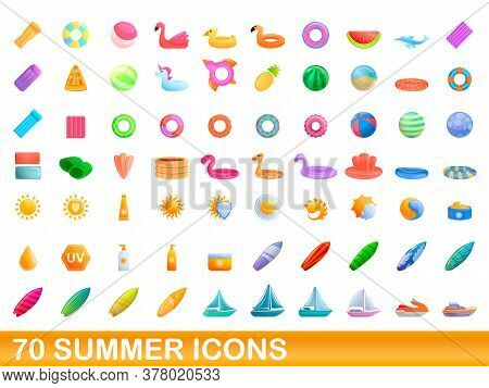70 Summer Icons Set. Cartoon Illustration Of 70 Summer Icons Vector Set Isolated On White Background