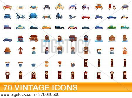 70 Vintage Icons Set. Cartoon Illustration Of 70 Vintage Icons Vector Set Isolated On White Backgrou