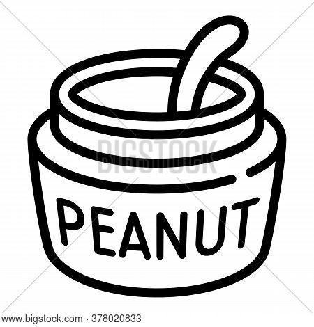 Peanut Jar Spoon Icon. Outline Peanut Jar Spoon Vector Icon For Web Design Isolated On White Backgro