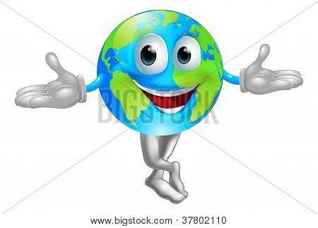 Globe World Mascot Man