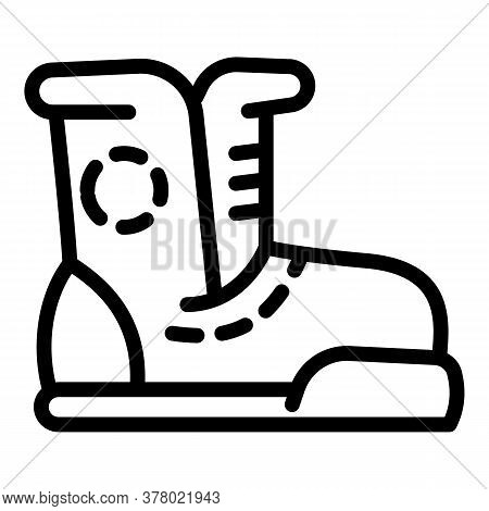 Ski Boot Icon. Outline Ski Boot Vector Icon For Web Design Isolated On White Background