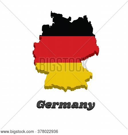 3d Map Outline And Flag Of Germany In Yellow Red And Black Color With Name Text Germany.