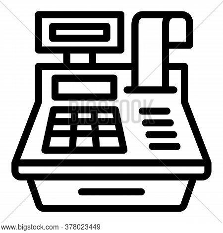 Cashier Equipment Icon. Outline Cashier Equipment Vector Icon For Web Design Isolated On White Backg