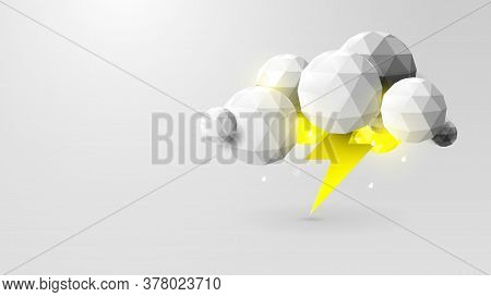Storm Weather Concept. Rain, Thunder Lightning And Clouds In The Paper Cut Style. Vector Illustratio