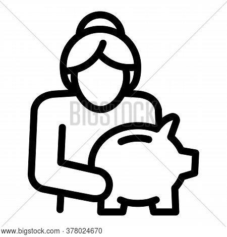 Senior Woman With Piggybank Icon. Outline Senior Woman With Piggybank Vector Icon For Web Design Iso