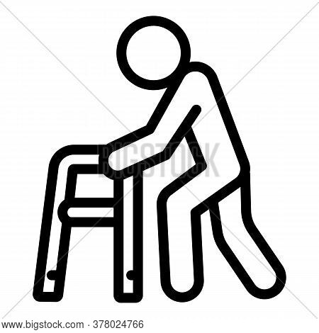 Pension Man With Walker Icon. Outline Pension Man With Walker Vector Icon For Web Design Isolated On