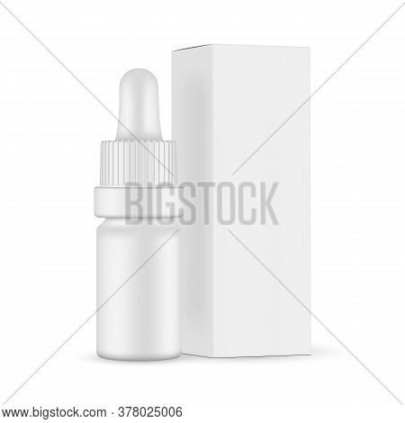 Small Matte Dropper Bottle Mockup And Paper Box With Side View, Isolated On White Background. Vector