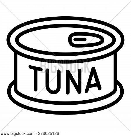 Tuna Tin Can Icon. Outline Tuna Tin Can Vector Icon For Web Design Isolated On White Background