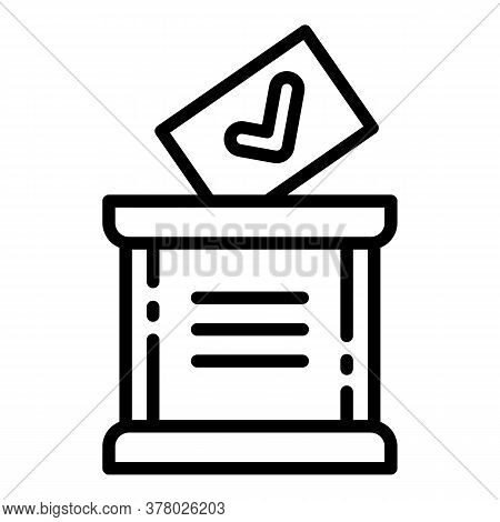 Wood Ballot Box Icon. Outline Wood Ballot Box Vector Icon For Web Design Isolated On White Backgroun