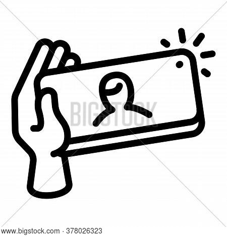 Selfie Flash Icon. Outline Selfie Flash Vector Icon For Web Design Isolated On White Background