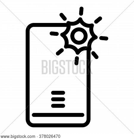 Power Flash Selfie Icon. Outline Power Flash Selfie Vector Icon For Web Design Isolated On White Bac