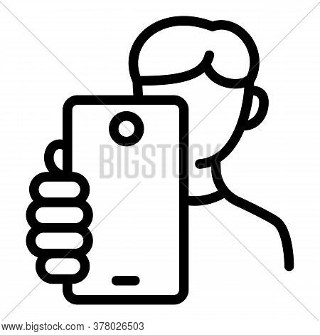 Kid Make Selfie Icon. Outline Kid Make Selfie Vector Icon For Web Design Isolated On White Backgroun