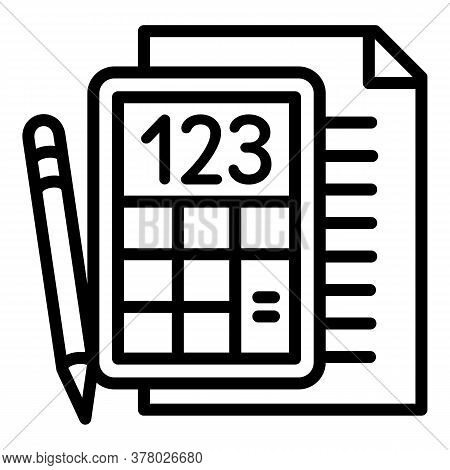 School Paper Calculator Icon. Outline School Paper Calculator Vector Icon For Web Design Isolated On