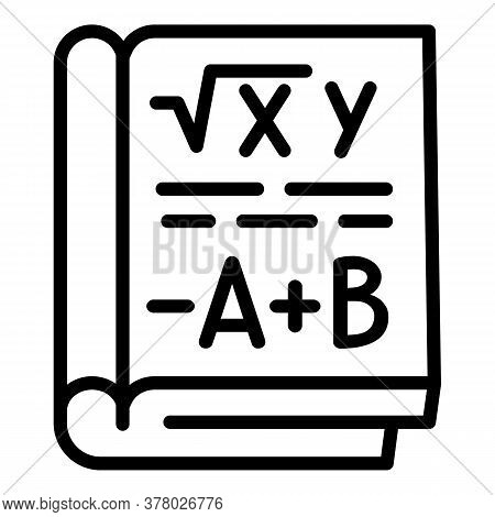 Mathematics Book Icon. Outline Mathematics Book Vector Icon For Web Design Isolated On White Backgro