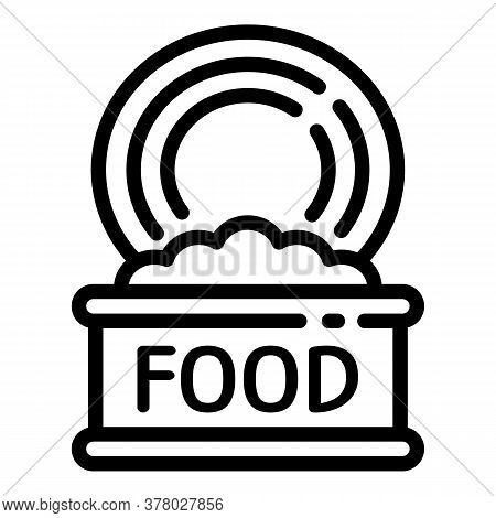 Open Food Tin Can Icon. Outline Open Food Tin Can Vector Icon For Web Design Isolated On White Backg