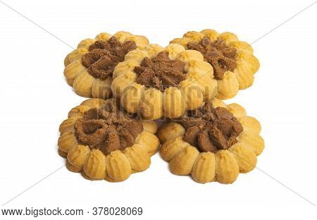 Shortbread Cookies Butter Isolated On White Background